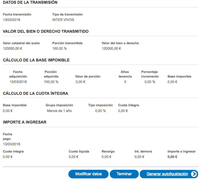 Importe del Impuesto de Plusvalía Madrid